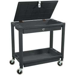 CART SERVICE 30IN. 2 SHELF PLASTIC 300LB CAPACITY