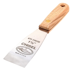 SCRAPER STIFF CHISEL EDGE 1-1/2IN. WOOD HANDLE