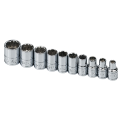 SOCKET SET 1/4IN. DRIVE 10 PC SAE STD 12 POINT