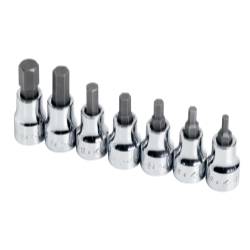 SOCKET HEX BIT SET 3/8IN. DRIVE 7PC SAE