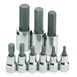 SOCKET HEX BIT SET 3/8IN. DRIVE 9PC SAE