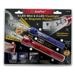 Ampro Tools (AMPT19716) Flashlight Set, 2 Piece, Includes 5 LED Mini and 6 LED, Both with Extendable Magnetic Pickup at Sears.com