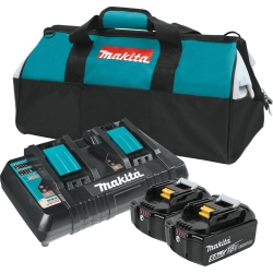 (2) BATTERY 18V 5.0AH, DUAL CHARGER & BAG