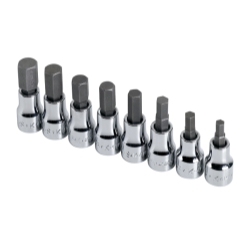 SOCKET HEX BIT SET 3/8IN. DRIVE 8PC METRIC