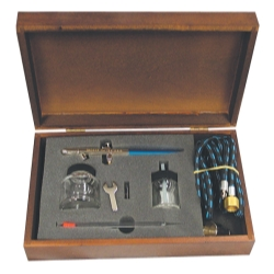 AIR BRUSH SET PROFESSIONAL HEAD WOOD CASE
