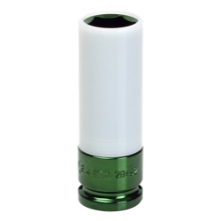 SUNEX TOOLS 28492 1/2 in. Drive 3/4 in. SAE Extra Thin Wall Deep Wheel Protector Impact Socket (Light Green)