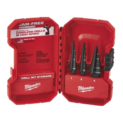 Milwaukee 3pc Step Drill Bit Set (#1, #2, #4)