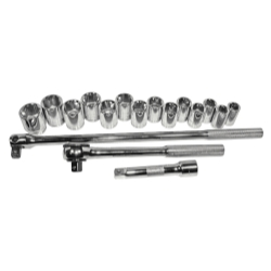 SOCKET SET 1/2IN. DRIVE 17 PC METRIC 