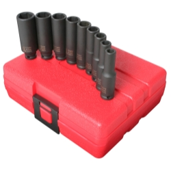 SOCKET SET IMPACT 1/4IN. DRIVE 9 PC. DEEP METRIC